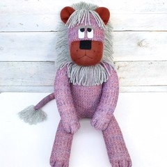 'Lawrence' the Sock Lion - rust, blue & grey tweed - *READY TO POST*