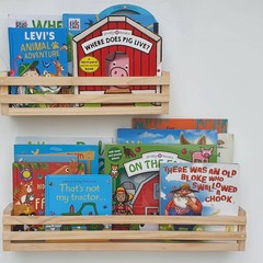Wide/Deep Kids bookshelf, Kids bookcase, Wooden Nursery Shelf, Floating bookshel