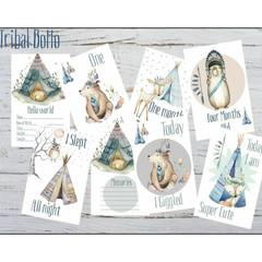 Baby Milestone Cards|Boy|Bo Ho|Tribal Bears| Pack of 34|Printed on 300 gsm Card