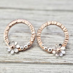 Silver and copper flower earrings | 925 Sterling silver and copper floral studs