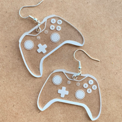 Game Controller Acrylic Earrings - Engraved Clear Acrylic