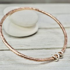 Copper bangle with sterling silver detail | Hammered copper bangle with silver l