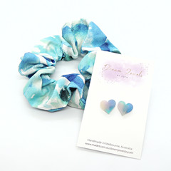 Earring and scrunchie set - blue & white