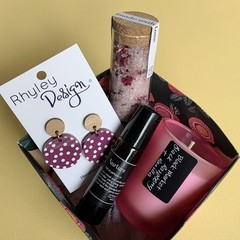 Perfume, Bath Salts, Candle and Earring Box Set