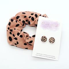 Earring & scrunchie set - copper brown