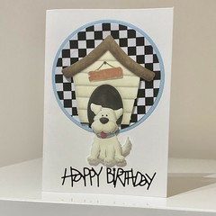 Birthday Card - Cute Dog and Dog House Happy Birthday Card, Puppy Card