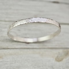 Heavy, wide silver bangle | Chunky Sterling silver hammered bangle