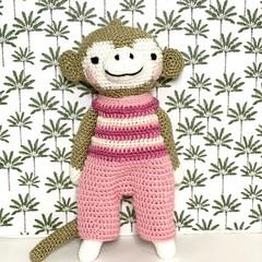 monkey softie, READY TO POST, crochet toy, baby girl toy, monkey soft toy