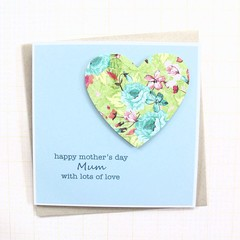 Mother's Day Card, Personalised,  Blue Floral Heart, Mum, Oma, Nanna, Nanny, Ma
