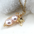 Two Peas In A Pod Pendant Necklace Pink Swarovski Pearl Two Special Girls.