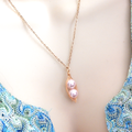 Two Peas In A Pod Gold Necklace Pink Swarovski Pearl.