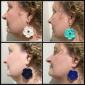 Various colours sterling silver boho crochet flower drop dangle earrings