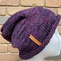 Handmade knitted purple slouchy beanie, mens or ladies slouchy purple hat
