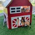 Wooden toy barn - doll house - dollhouse - farm shed - animal barn - pretend pla