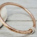 Heavy copper bangle with silver detail | Hammered copper stacking bangle