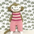 monkey softie, READY TO POST, crochet toy, baby girl toy, monkey soft toy