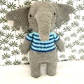 crochet elephant, READY TO POST, stuffed animal, baby boy toy, crochet toy