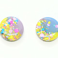 Earring and scrunchie set - bright rainbow