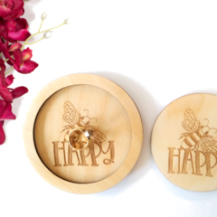 Cute Bee Happy Trinket Tray with Matching Coaster