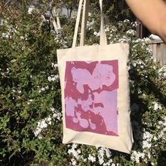 Pink Purple  'Lava Lamp' on White Tote Bags