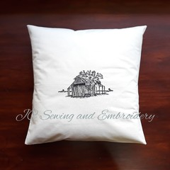 Old Wood Shed Calico Cushion Cover