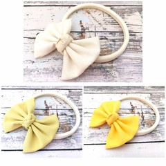 Yellow Fabric Bow Headband in Soft Nylon Elastic for Babies and Toddlers
