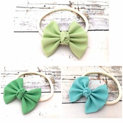 Soft Baby Headband in Shades of Green - Pale Green, Green, Aqua