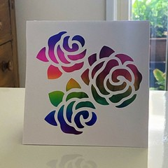 Custom Made Greeting Card - Paper-cut Roses Rainbow, Birthday, Thank You