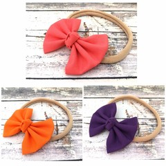 Fabric Bow Headband in Soft Nylon Elastic  - Coral Pink, Orange and Royal Purple