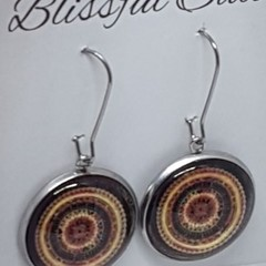 Cabochon Hook Stainless Steel Silver Glass Circle Boho Earrings