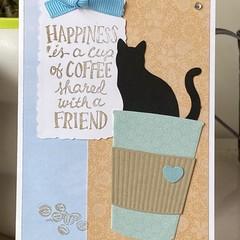 Birthday friendship  Handmade Card  - coffee and cat