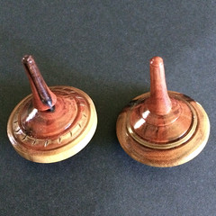 Item DF127 - Two Decorated Spinning Tops