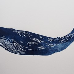 Whale (Lino Print) blank card