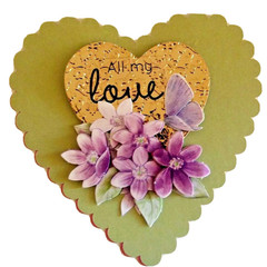 Handmade Greeting Card - Heart Shaped with Flower All my Love -Cottage Aesthetic