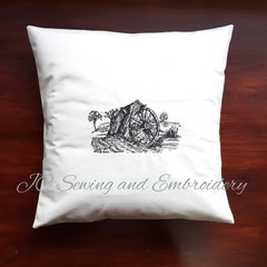 Miners Tipping Tray Calico Cushion Cover