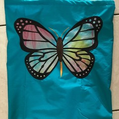 Butterfly draw string bag for sports, library, gift bag washable One of a kind