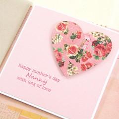 Mother's Day Card, Personalised Card, Floral Heart, Mum Oma Nanna Nanny Grandma