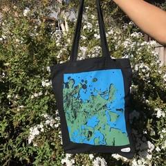 Blue 'Bubbles' on Black Tote Bags