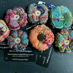 Hand dyed, hand stitched pincushions