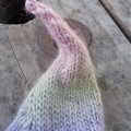 """child's knitted """"leaf"""" hat  made from wool and soy in pastels"""