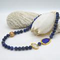 Della Lapis Lazuli Pearl asymmetrical Necklace