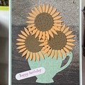 Birthday  Card - Sunflowers in a teacup