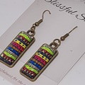Cabochon Hook Drop Antique Bronze Glass Rectangle Boho Earrings