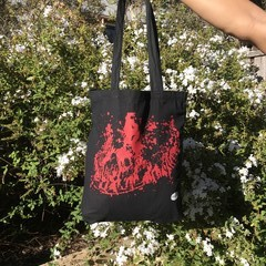 Red 'Volcano' on Black Tote