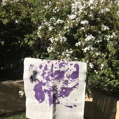 """Purple 'Angels"""" on White Tea Towel"""