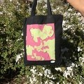 Pink Lime 'Lava Lamp' on Black Tote Bag
