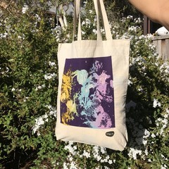 Colourful 'Coral' on White Tote Bags