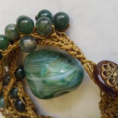 Moss Agate 5 strand Crochet Bracelet