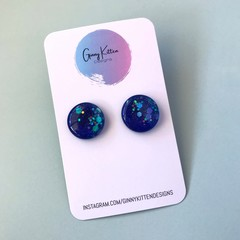 Navy and Glitter Resin Studs