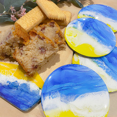 Ink and Resin beach scape serving board and coasters